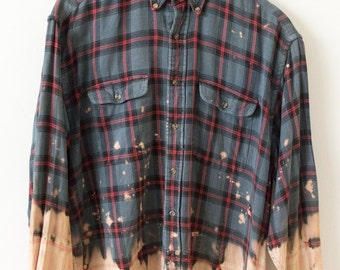 Mens High Sierra Medium Flannel Bleached Grunge Hand-Dyed Basic Tee 90s Aesthetic