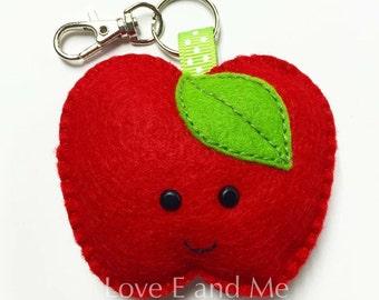 Happy Apple Felt Keyring