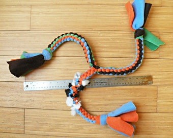 Triple Braided Fleece Dog Tug Toy, with Optional Rabbit Fur