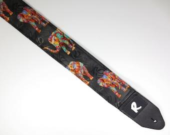 Guitar Strap - Tribal Elephants - Eastern Indian
