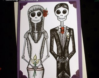 Bride + Groom in 'Violeta' / Calavera Wedding Handmade Greeting Card