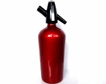 Vintage Red Seltzer Bottle, Art Deco Soda Siphon / Mid Century Art Deco Barware & Bar Cart Accessories