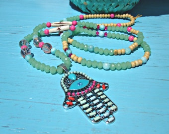 Turquoise Crystal Tribal Chic Hamsa Necklace