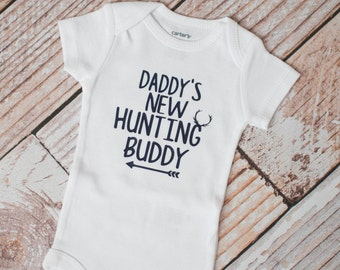 Daddy's New Hunting Buddy in Navy Bodysuit Long or Short Sleeve