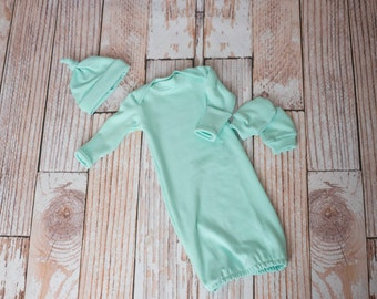 Baby/Newborn/Infant Mint/Teal Gown, Mitts, and Hat for a Baby Shower Gift