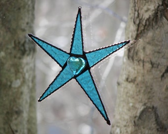 Stained Glass Star Turquoise, Valentine Star Turquoise, Turquoise Heart, Suncatcher,Turquoise Stained Glass Star
