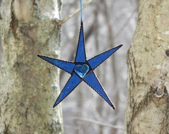 Stained Glass Star Blue, Five Point Star Light Blue, Light Blue Star Suncatcher,Light Blue Stained Glass Star