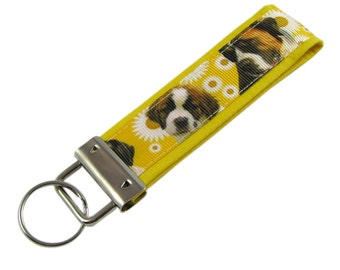 Personalized Key Chain / Key Fob St. Bernard Dogs With Optional Initials