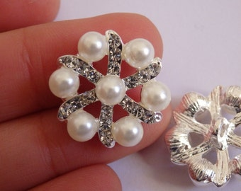 2 crystal buttons pearl rhinestone diamante upholstery wedding silver UK 5