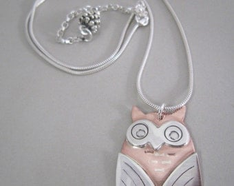 Owl necklace, silver owl necklace, silver and copper owl necklace, owl pendant, bird pendant