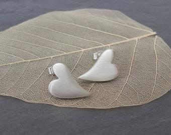 Fine silver heart earrings