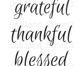 """Primitive Thanksgiving Fall STENCIL**grateful thankful blessed**script writing 11""""x12"""" for Painting Signs, Airbrush, Crafts, Wall Art"""