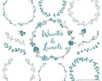 Floral Wreaths & Laurels in Vintage Blue - Vintage Blue Flower Wreath, Vintage Blue Wreath, Wreath Clipart, Laurel Clipart