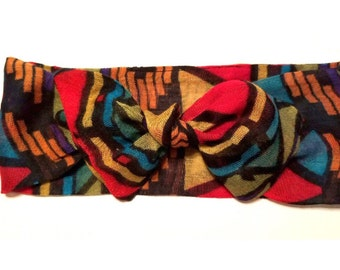 Multi color tribal hearwrap-rainbow tied baby turban-tied girls turban-gauze adult turban-summer headwrap-girls headwrap
