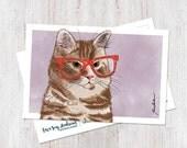 Hipster Cat Leo Postcard ...