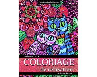 CATS pouch - Relaxation - 5 designs - optional extra of 2 coloring!