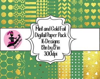Mint and Gold Digital Paper Pack- 16 Sheets- Instant Download