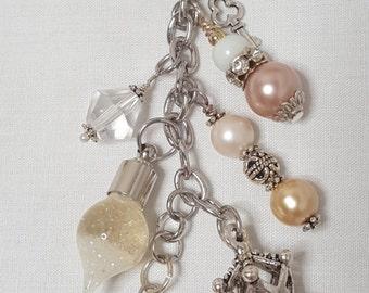 Bottle Bag charm, beaded handbag charm, beaded purse charm, beaded bag charm, purse accessories,purse jewelry, glow in the dark bag charm
