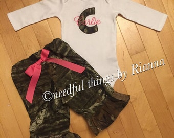 Girls camo pant outfit personilized with a letter and name