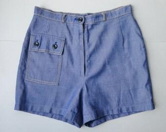 70s Vintage Highwaisted Shorts // Nodar Radom // Blue