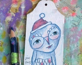 Owl Boy, Christmas ornament, gift tag, mixed media art painting