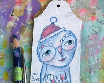 Owl Boy, Christmas ornament, gift tag, mixed media art painting