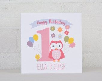 Little Owl Personalised 1st Birthday Card for a Girl, Personalised Birthday Card for a one year old, First Birthday Card, Custom Card