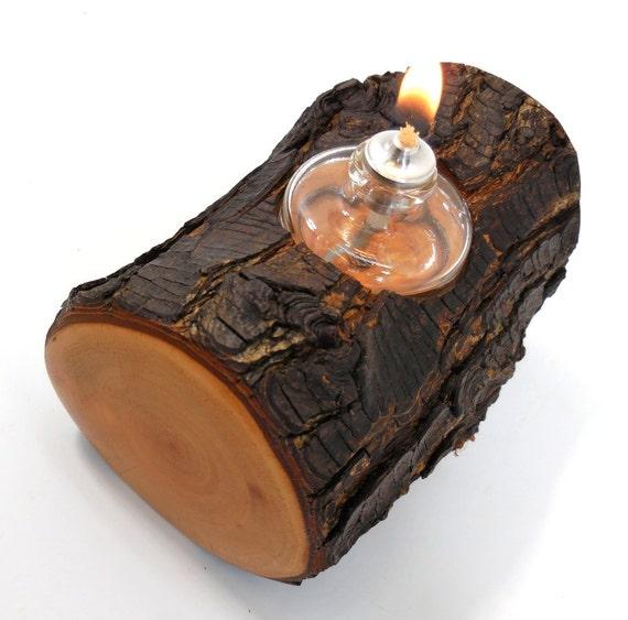 Wood candle with refillable oil lamp reclaimed wood oil lamp for Wooden kerosene lamp holder