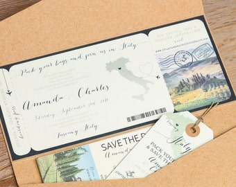 Beautifully unique wedding save the dates and by partyglamourshop italy boarding pass wedding invitation design fee destination wedding stopboris Choice Image