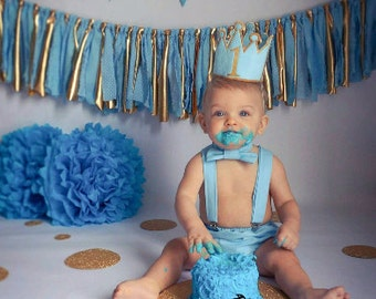 Gold and light blue cake smash set