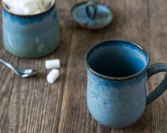 Blue Ceramic Coffee Mug / Pottery Stoneware Mugs / Hand Thrown Mug / 10oz Mug / Coffee Lovers Gift / Tea Mug / Unique Hostess Gift