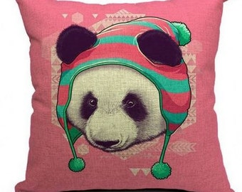 Funky Panda with Hat - Pillow Cover