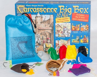 "Carcassonne Big Box 10 pc Bundle - (1) XLarge 9"" x 12"" Tile Draw Bag, (8) Small 3"" x 3"" Player Pouches and (1) 4"" x 6"" Accessory Sack"