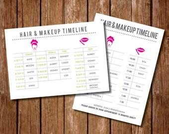 Printable Hair Makeup Itinerary