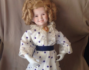 Shirley Temple Doll Child Movie Star Collectible Vintage White Purple Dotted Party Dress 1990s Nutcracker Ballet Prop
