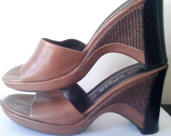 Vintage Via Spiga  Italian Wedge Slide on Shoes / Women's Size 7M / Boho Chic / Chunky Heel