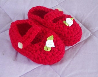 Bright Red Crochet Baby Mary Janes