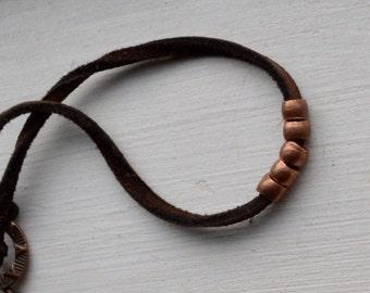Copper and deer skin leather bracelet, copper bracelet, unisex copper bracelet, mens copper bracelet, mens leather bracelet,