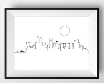 Abu Dhabi Skyline, Abu Dhabi art, Abu Dhabi print, Abu Dhabi poster, Abu Dhabi, Abu Dhabi gift, Abu Dhabi artwork, Abu Dhabi illustration