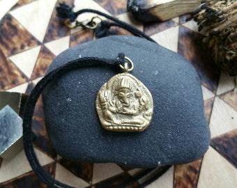 Ganesha organic cotton necklace | remover of obstacles | Buddhist pendant | Fair Trade Tibetan Brass pendant |