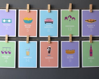 Detroit Icons Table Numbers Wedding Party Hand-Drawn Illustrations