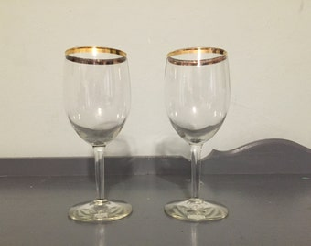 Two Wine Glasses with Gold Rim