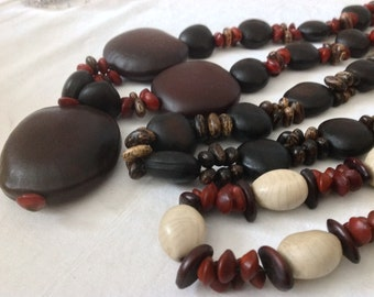 3 Ethnic Malagasy Organic natural African seeds Necklace. Eco friendly necklace. Boho, Folk, Ethnic, Hippy, Gypsy, Necklace.