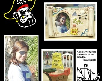 Pirate 12x12 Scrapbook Overlay Page • 12x12 Premade Scrapbook Page • 12x12 Ahoy Matey Title • Pirate Ship Design • Crafts by the Sea