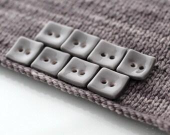 "8 Small Square Transparent Grey Ceramic Buttons (20 mm / 0.8"")"