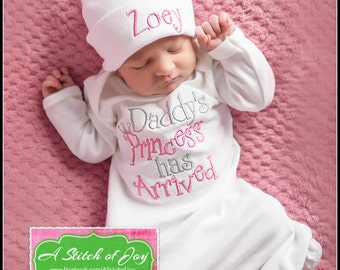 Infant Girls' Announcement Layette Gown or Bodysuit, Daddy's Princess Has Arrived, Daddy's Girl, Our Princess Has Arrived