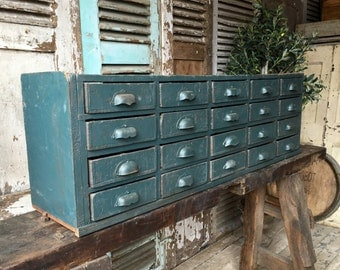 Small vintage French industrial style table top drawers