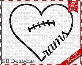 Rams Football SVG DXF EPS Cutting Machine Files Silhouette Cameo Cricut Football Vinyl Cut File Football Vector svg file