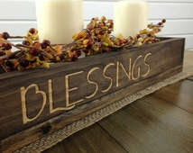 Wood box centerpiece, Long wood box, Mason Jar Centerpiece, Candle Holder, Wedding Centerpiece