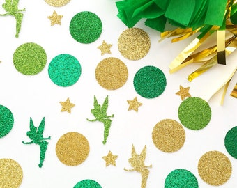 Green Fairy Confetti, Table Confetti, Birthday Confetti, Party Decorations, Tinkerbell Party Decor, Tinkerbell Confetti, Glitter Confetti